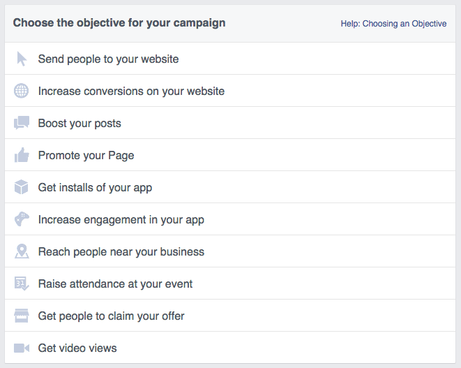 Facebook Ad Campaign Objective