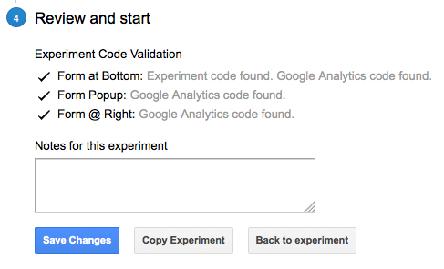 Google Experiments Review Setup