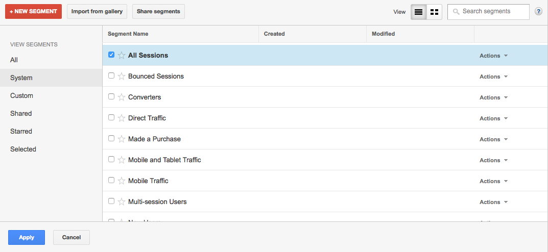 Google Analytics Segments Screen