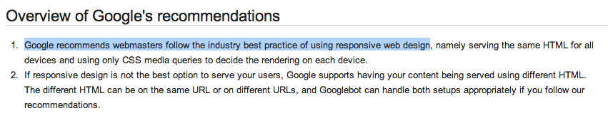 Google Recommends Responsive Design